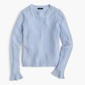 J Crew Cable Crewneck Sweater with Ruffle Sleeves